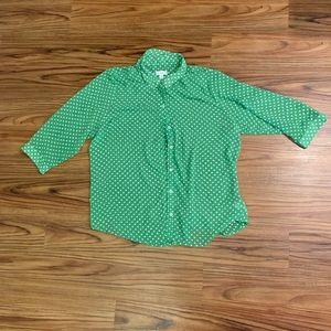 Susan Graver Green Polka Dot Women's Collared Top